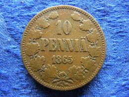 FINLAND 10 PENNIA 1865, KM5.1 - Finlande