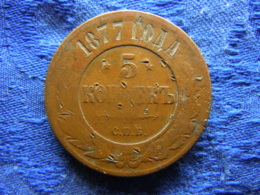 RUSSIA 5 KOPEK 1877 SPB, KM12.2 Pecks - Russie
