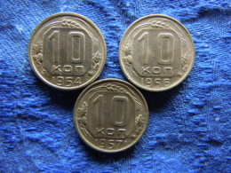 RUSSIA 10 KOPEK 1954, 1956 KM116, 1957 KM123 - Russie