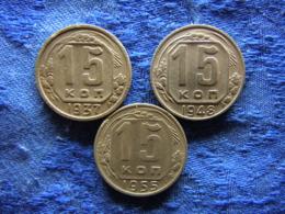RUSSIA 15 KOPEK 1937 KM110, 1948, 1955 KM117 - Russie