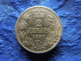 SERBIA 2 DINARA 1897, KM22 Scratched - Serbia
