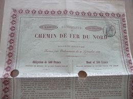 Action 500 Francs Chemins De Fer Du Nord 1877 - Railway & Tramway