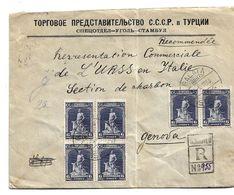Tur170 / TÜRKEI - Mehrfachfrankatur, Schmied Mit Wolf, 1930, Sowjetische Handelsvertretung Nach Genova - Briefe U. Dokumente