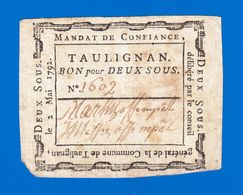ASSIGNAT BILLET DE CONFIANCE MANDAT DE 2 SOUS  2 MAI 1792 COMMUNE DE TAULIGNAN N° 1602 - VALENCE DRÔME Serbon63 - Assegnati