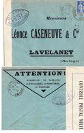 """L- Censure- Cachet:""""Ouvert Par L' Autorité Militaire- PB 237 """" - (Carcassonne )- - Guerra Del 1939-45"""