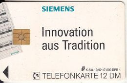 GERMANY - Siemens/Innovation Aus Tradition(K 334), Tirage 17000, 10/92, Used - Deutschland