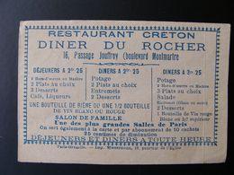 Ancienne Publicité Restaurant Creton Diner Du Rocher Passage Jouffroy Boulevard Montmartre PARIS - Werbung