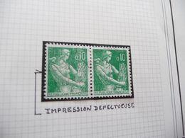Variété Type Paysanne Moissonneuse N° 1231 Oblitéré Paire Avec Belle Impression Défectueuse - Errors & Oddities