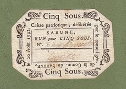 ASSIGNAT BILLET DE CONFIANCE N° 84 MANDAT DE 5 SOUS 20 AOÛT 1792 COMMUNE DE SAHUNE - VALENCE DRÔME CAISSE PATRIOTIQUE - Assignats & Mandats Territoriaux