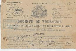 SOCIETE DE TOULOUSE ASSOCIATION MUTUELLE A COTISATION FIXES CONTRE LA GRELE - Historische Dokumente
