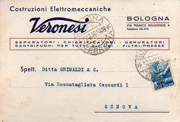 Cartolina Commerciale Della Ditta Veronesi Di Bologna - 6. 1946-.. Repubblica