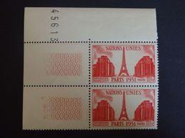 N°911a - Nations Uniesx2 - LUXE** - Papier Carton - Gomme D'origine - Coin De Feuille Numéroté - Nuevos