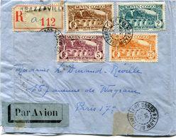 A. E. F. LETTRE RECOMMANDEE PAR AVION DEPART BRAZZAVILLE 28 MARS 36 MOYEN-CONGO POUR LA FRANCE - Briefe U. Dokumente