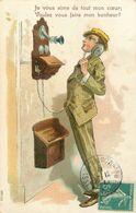 "TELEPHONE - HOMME AU TELEPHONE - CPA ILLUSTRATEUR  ""UNE DECLARATION"" - CIRCULEE En 1911. - Illustratori & Fotografie"