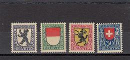 Suisse - Année 1924 - Neuf** - Pro Juventute - N° Zumstein 29/32** - Ecussons De Cantons Et Du Pays - Neufs