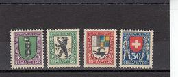 Suisse - Année 1925 - Neuf** - Pro Juventute - N° Zumstein 33/36** - Ecussons De Cantons Et Du Pays - Neufs