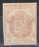 Sello 4 Reales España Telegrafos 1864. Doble Marquilla Al Oirso. Edifil Num 2 ** - Telegrafen