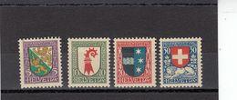 Suisse - Année 1926 - Neuf** - Pro Juventute - N° Zumstein 37/40** - Ecussons De Cantons Et Du Pays - Neufs