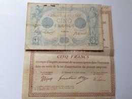 Lot Billet Bleu 5 Frs 1915 Et Son Bon De D'émission Rente 5 Pour Cent Ensemble Peu Courant - 1871-1952 Circulated During XXth
