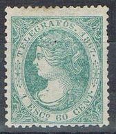 Sello 1 Escudo 60 Cts España Telegrafos 1867. Usado Perforado  Edifil Num 19 º - Telegrafen
