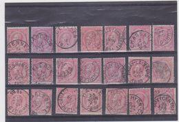 Belgie Nr 46 - 70 Verschillende Leesbare Afstempelingen Van A Tot W (voor De Stempelzoeker) - 1884-1891 Leopold II