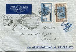 COTE- D'IVOIRE LETTRE PAR AVION DEPART ABIDJAN 6 MARS 37 COTE D'IVOIRE POUR LA FRANCE - Côte-d'Ivoire (1892-1944)