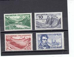 Suisse - Année 1931 - Neuf** - Pro Juventute - N° Zumstein 57/60** - Paysages Et Portrait D'Alexandre Vinet - Neufs