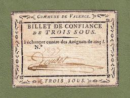 ASSIGNAT BILLET DE CONFIANCE N° 7897 BON POUR 3 SOUS COMMUNE DE VALENCE DRÔME Serbon63 - Assignats & Mandats Territoriaux