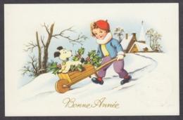 96878/ NOUVEL AN, Enfant, Garçonnet Conduisant Son Chien Dans Une Brouette - New Year