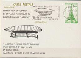 "FRANCE : Carte Postale Repiquage : ""Centenaire Du Ballon Dirigeable : LAMARCHE  Le 30-12-1983 - Bijgewerkte Postkaarten  (voor 1995)"