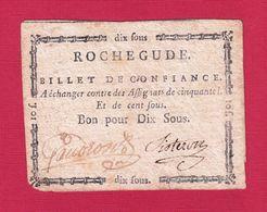 ASSIGNAT BILLET DE CONFIANCE BON POUR 10 SOUS COMMUNE DE ROCHEGUDE DRÔME - VALENCE Serbon63 - Assignats & Mandats Territoriaux