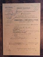 Permis De Pêche,(compagnon)- Pêche  Fluviale, Rivière La Dordogne-24 Et 33 Cantonnement (exemplaire  Nul) Années 1930 - Vieux Papiers