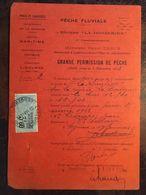 Grande Permission (Permis) Pêche-1933-Rivière Dordogne - 24 Et 33  ,Pêche Fluviale, Serv. Maritime, Subdivision Libourne - Vieux Papiers