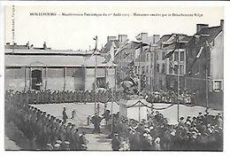 Cpa..Montebourg..manifestation Patriotique Du 1 Aout 1915..honneurs Redu Par Le Détachement Belge..animée..1917.. - Autres Communes