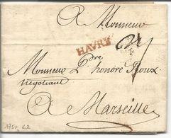 LAC Le Havre Vers Marseille Marque Linéaire Lenain N°2 Havre Rouge 22x4.5 1750 Taxe Manuscrite - Marcophilie (Lettres)