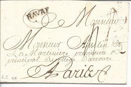 LAC Le Havre Vers Paris Marque Linéaire Lenain N°2A Havre Noir 22x4.5 1750 Taxe Manuscrite 4 Puis 8 Sans Date - Marcophilie (Lettres)