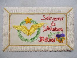 SOUVENIR DE L'AVIATION  MEKNES / FANTAISIE BRODEE +++ RARE +++ - Regimente