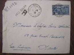 Réunion 1932 FRANCE Hell Bourg Recommandé Lettre Enveloppe Cover Colonie Chef Service Colonial - Réunion (1852-1975)
