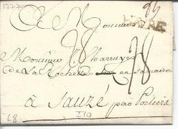 LAC Le Havre Vers Sauzé Par Poitiers Marque Linéaire Lenain N°8  Havre Noir 25x6 1777  Taxe Manuscrite 18 - Marcophilie (Lettres)