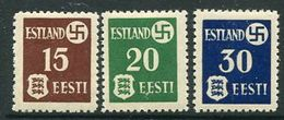 ESTONIA  1941 First Issue On Ordinary Paper LHM / *. .  Michel 1-3 - Occupation 1938-45