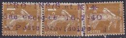 FRANCE - Bande De 3 Du 1 C. Semeuse Avec Griffe Violette PROVINS (S. Et M.)* Zône Occupée 16-7-40  Poste Provisoire - Variétés Et Curiosités