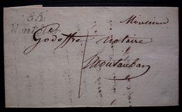 Montclar 1836 Cursive 85/ Montclar  (Monclar De Quercy Tarn-et-Garonne) Sur Lettre Pour Montauban - Postmark Collection (Covers)