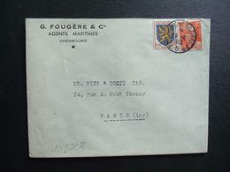 LETTRE TP M. DE GANDON 12F+FRANCHE-COMTE 3F OBL. AMBULANT 29-6 1953 PARIS A CHERBOURG 2° D (50 MANCHE) G. FOUGERES & Cie - Bahnpost