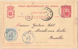 Stamped Stationery Etat Indépendant Du Congo 1893 - Banana - Bruxelles - Postwaardestukken