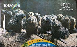 NOUVELLE-ZELANDE  -  Phonecard  - Marine Mammals  -  Pup's Creche  -  $ 5 - Nuova Zelanda