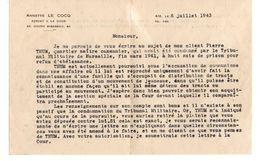 C1 1943 Courrier D 'un Avocat Concernant Un Homme Accusé De Communisme..... - Marcophilie (Lettres)