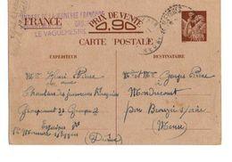 C1 1940 Entier Postal  Du Chantiers De La Jeunesse Groupe 33   Cachet  Du Chantier - Marcophilie (Lettres)