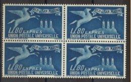 1946 SAN MARINO - Espresso Per L'estero N. 15 Nuovi ** In Quartina (425) - Unused Stamps
