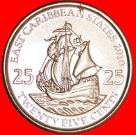 · SHIP Of Sir Francis Drake (1542-1596): EAST CARIBBEAN STATES ★ 25 CENTS 2010 UNC MINT LUSTER!LOW START ★ NO RESERVE! - Caraïbes Orientales (Etats Des)