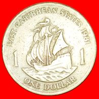 · SHIP Of Sir Francis Drake (1542-1596): EAST CARIBBEAN STATES ★ 1 DOLLAR 1981! LOW START ★ NO RESERVE! - Caribe Oriental (Estados Del)